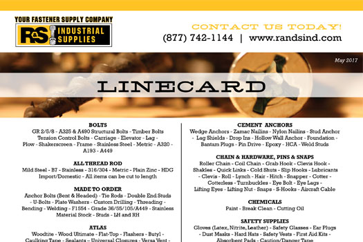 R&S Industrial Supplies Line Card
