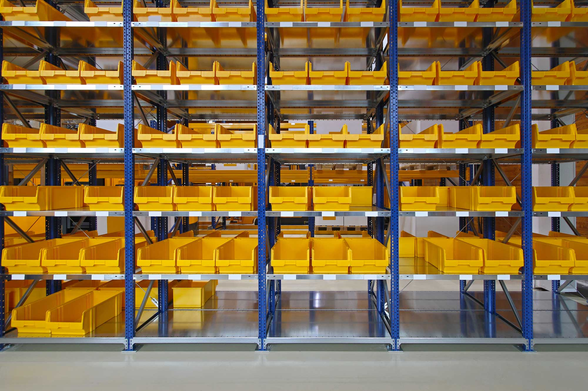 Empty Warehouse Storage Bins